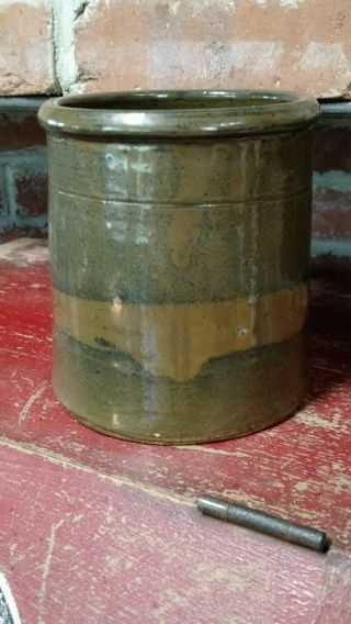 Antique Brown Stoneware Crock Salt Glaze Slip photo