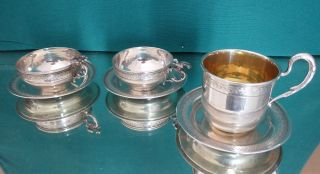 Ottoman (turkey),  6 Mocha Cups Oriental,  Solid Silver (900) 145 Gr photo