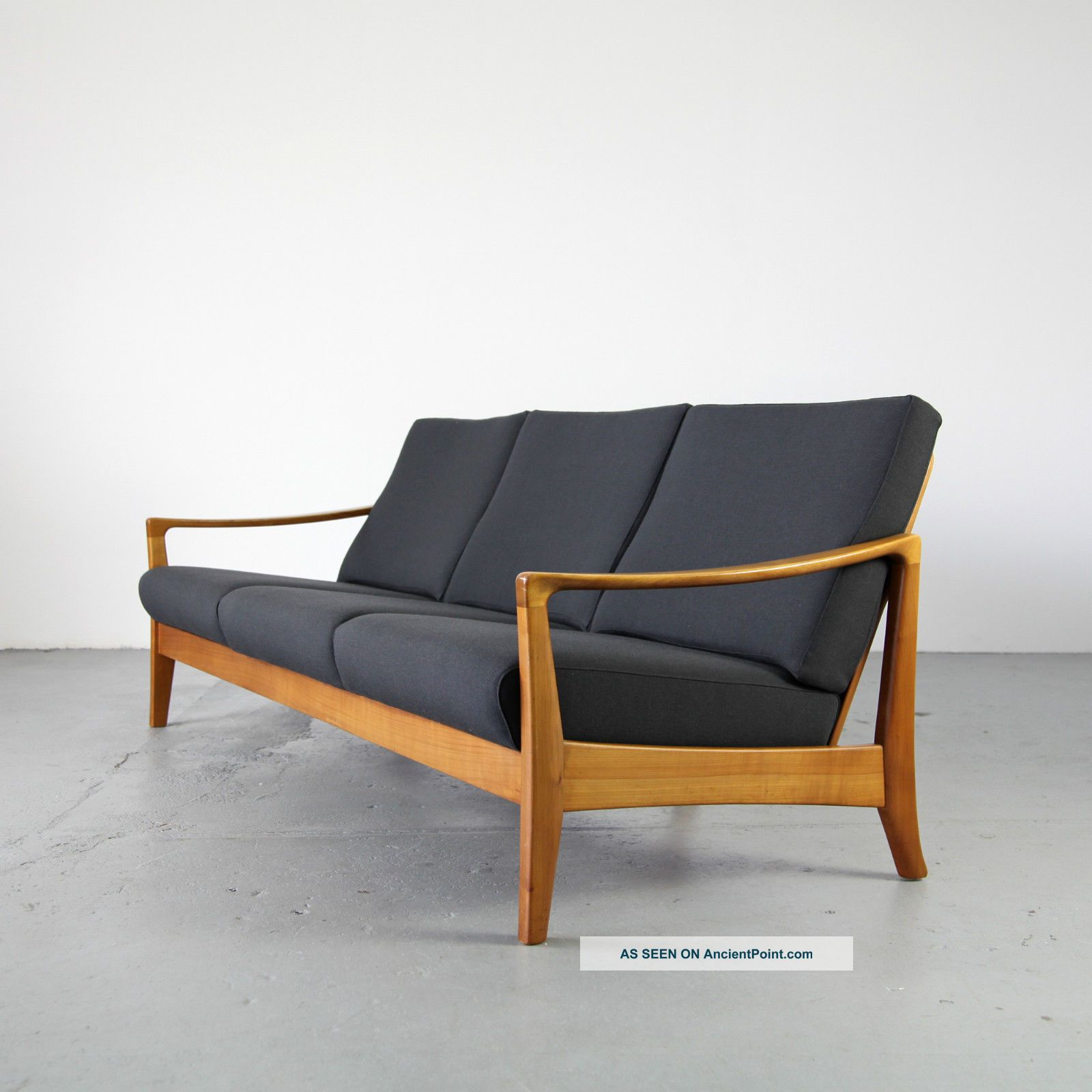 Mid Century Three Seater Sofa W Fabric 60s Danish Modern Sofa