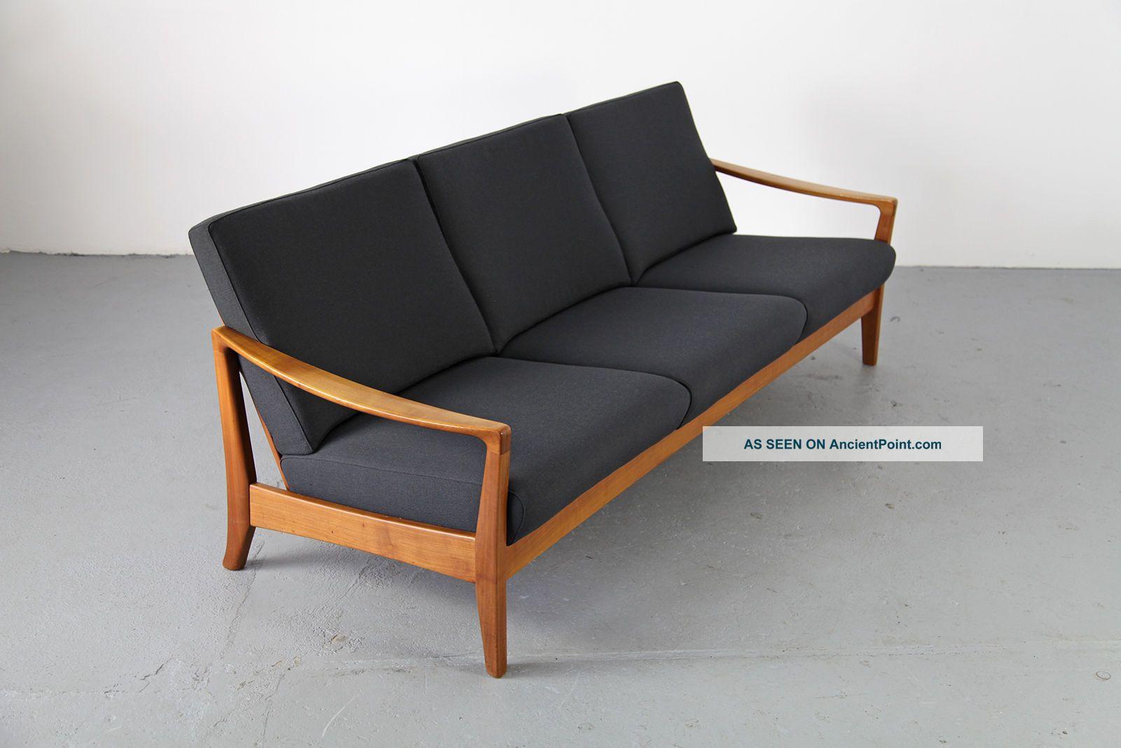 Mid Century Three Seater Sofa W Fabric 60s Danish Modern