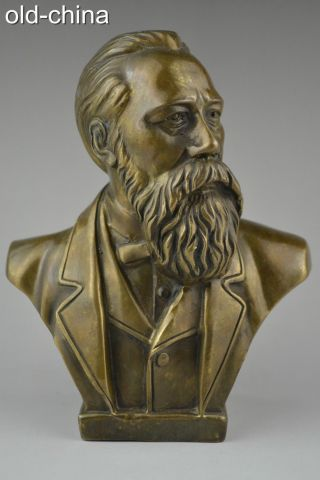 China Collectible Handwork Old Copper Engels Proletariat Adore Statue photo