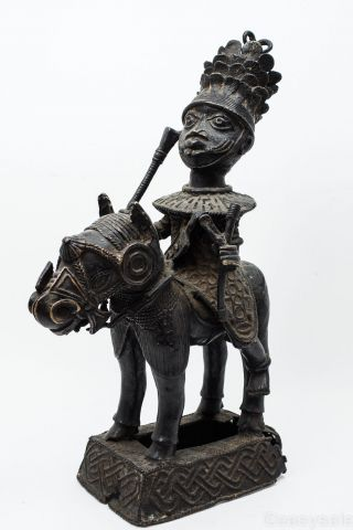 Authentic Old Benin Bronze Statue Figure King On Horse African Tribal Art 21.  5