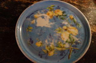 1900 ' S Tea Tile/trivet - Blue/yellow Roses - Marked Brooklyn Ovingtons Chicago - photo