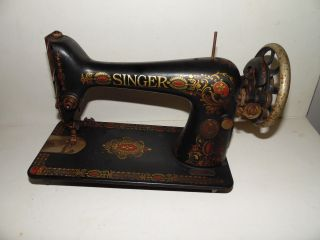 Antique Singer Red Eye Sewing Machine 1916 Treadle Model 66 Serial G4789425 photo