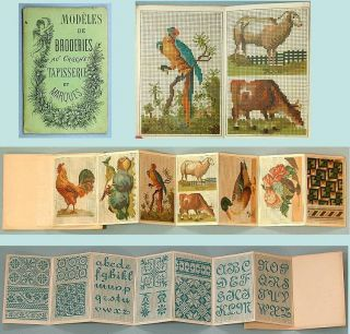 Colorful Antique Charted Design Embroidery Booklet French Circa 1880 photo