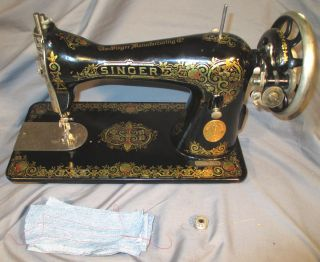 Shiny Serviced Antique 1926 Singer 15 - 30 Treadle Sewing Machine See Video photo