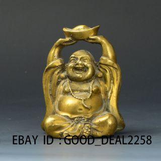 Chinese Brass Handwork Carved Statue - - - - Maitreya Buddha& Ingot photo