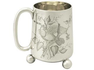 Sterling Silver Christening Mug - Antique Victorian photo