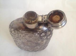 Alvin Design Antique Art Nouveau Sterling Silver Overlay Glass Flask photo