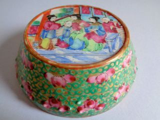 19th Century Chinese Canton Enamel Porcelain Flat - Topped Cover For Jar photo