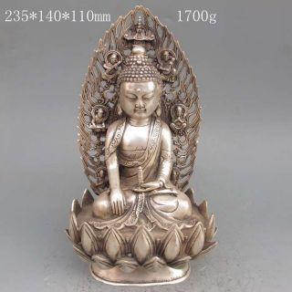 Chinese Tibetan Silver Hand Work Statue - - - - Buddha photo