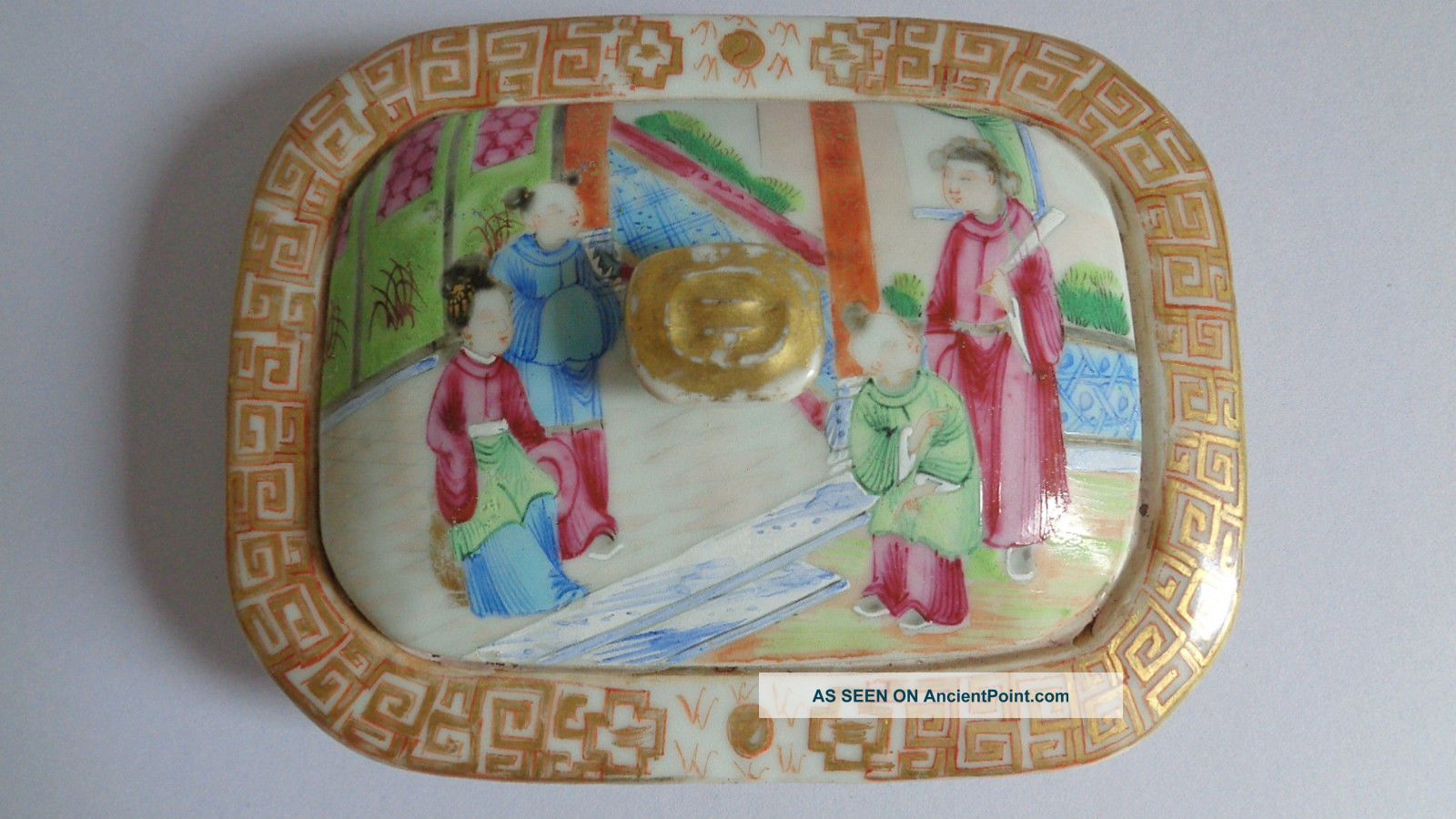 Early 19th Century Chinese Export Porcelain Soap Dish And Cover,  No Base Porcelain photo