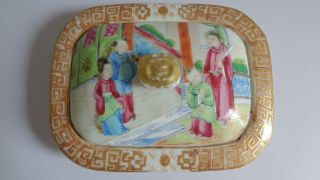 Early 19th Century Chinese Export Porcelain Soap Dish And Cover,  No Base photo