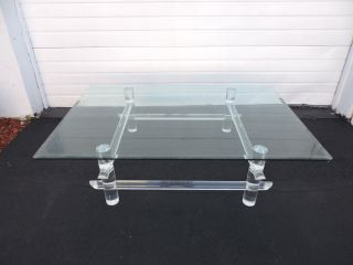 Mid - Century Lucite Glass - Top Coffee Table By Les Prismatiques 6909 photo