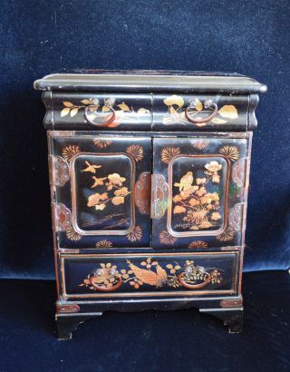 Antique Miniature Japanese Black Lacquered Table Top Collectors Cabinet photo
