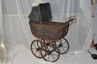 Antique? Baby Doll Bear Carriage Stroller Wood W/ Linen Cloth Lining In Buggy photo