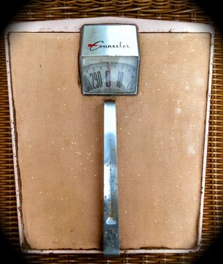 Old Pink Counselor Bathroom Scale : Very Loose Handle : Imperfect : photo