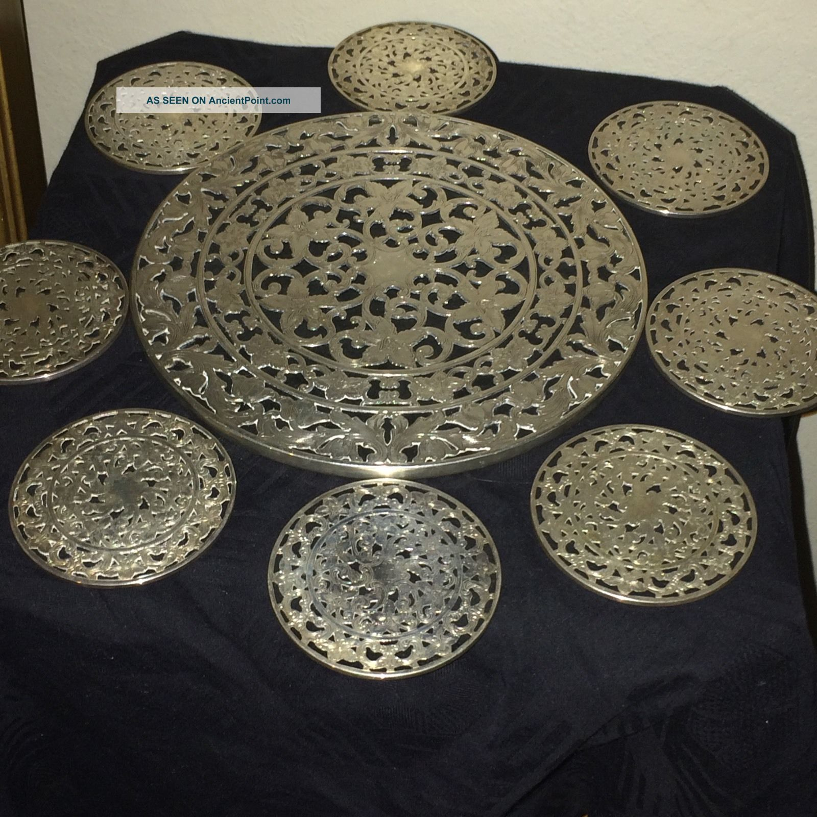 American Sterling Silver And Glass Coasters And Trivet Dishes & Coasters photo