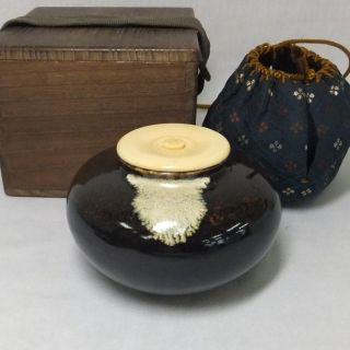D470: Japanese Old Seto Pottery Ware Tea Caddy With Good Lid,  Shifuku And Box photo
