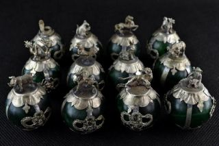 Chinese Handwork Green Jade Tradition Propitious Chinese 12 Zodiac Rare Statues photo