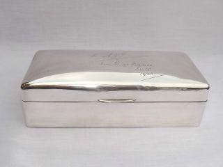 Splendid Large Solid Sterling Silver Cigarette Cigar Box - London 1919 photo