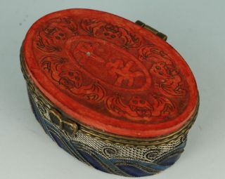 Rare Chinese Old Tradition Silver Cloisonne Inlay Jewel Box photo
