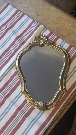 French Vintage Decorative Gilt Frame Crest Shape Mirror 32 Cm X 22 Cm photo
