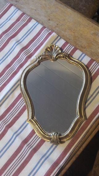 French Vintage Decorative Gilt Frame Crest Shape Mirror 32 Cm X 22 Cm photo