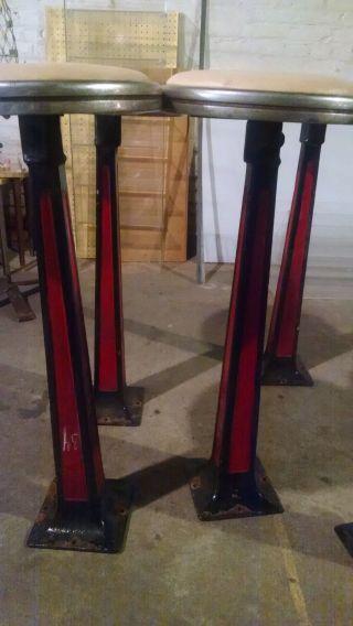 Antique Cast Iron Diner Stools (5) - Black & Red photo
