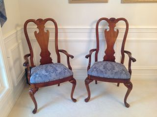 8 Thomasville Queen Anne Mahogany Dining Room Chairs Pristine 2 Arm,  6 Side photo