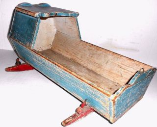 Antique Primitive Doll Cradle With Bonnet Blue & Red Paint Late 1800 ' S photo