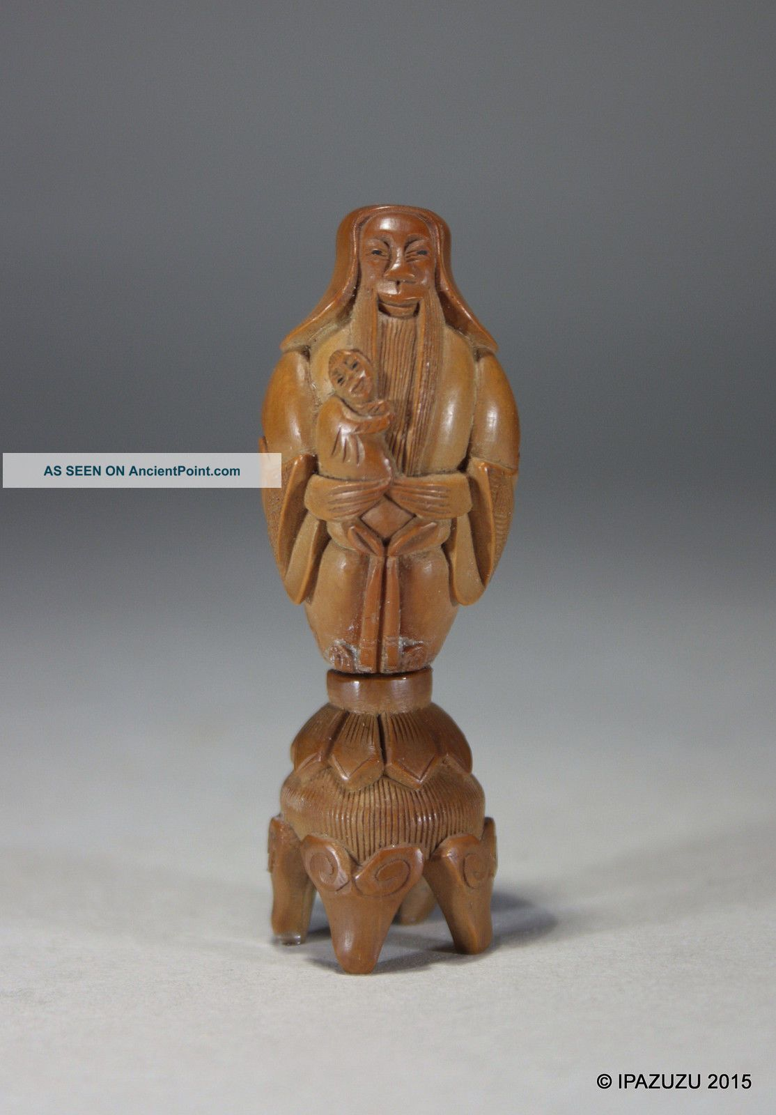 Antique Chinese Coquilla Hediao Nut Carving Sage With Child & Stand Signed Woodenware photo