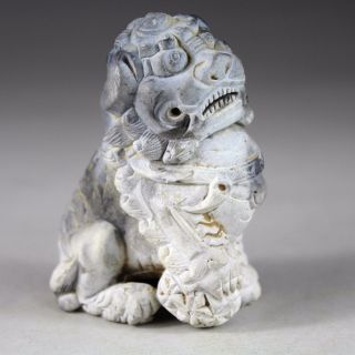 Chinese Hand Carved Lion Statues Old Stone Statue 1925 photo