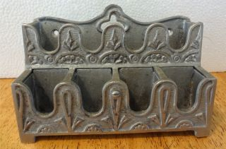Antique 1900 Era Koken Barber Shop Chair Supply Cast Metal Token Rack Holder photo