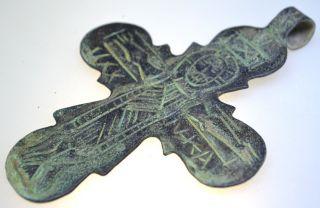 Byzantine Bronze Christian Cross Pendant photo