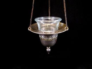 Vintage Triple Chained Orthodox Censer Lampada W/ The Jar photo