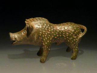 Fantastic Roman Bronze Figurine Wild Boar photo
