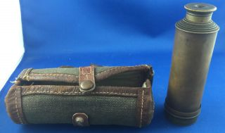 Vintage Long Extending Brass Telescope In Canvas Case photo