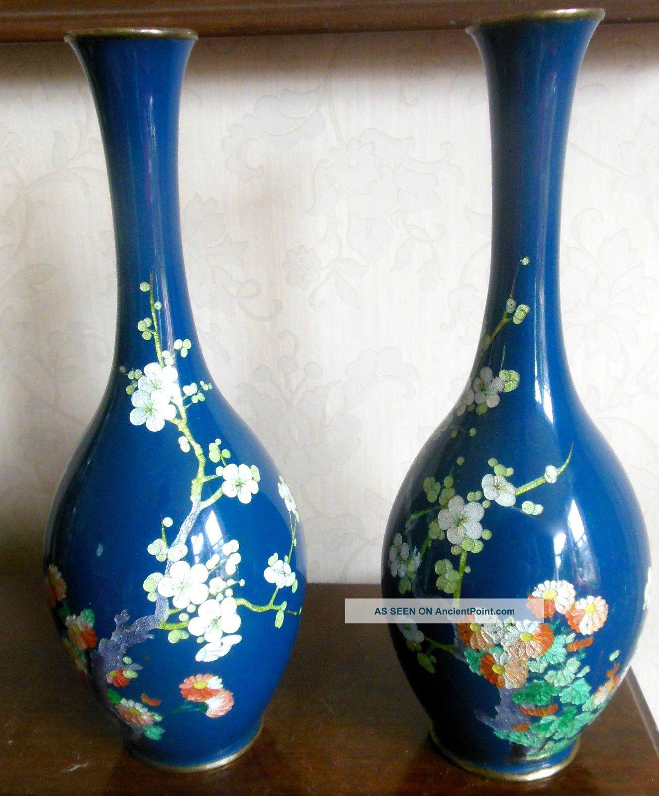 Vintage Japanese Silver Based Cloisonne Vases Cloisonne photo
