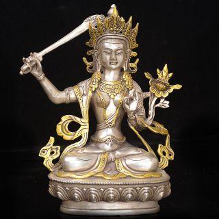 Vintage Tibet Copper Gilt Tibetan Buddhism Statue - - - - Manjushri photo