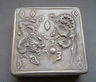 Old Chinese Silver Carved Dragon And Phoenix Shape Boxes photo
