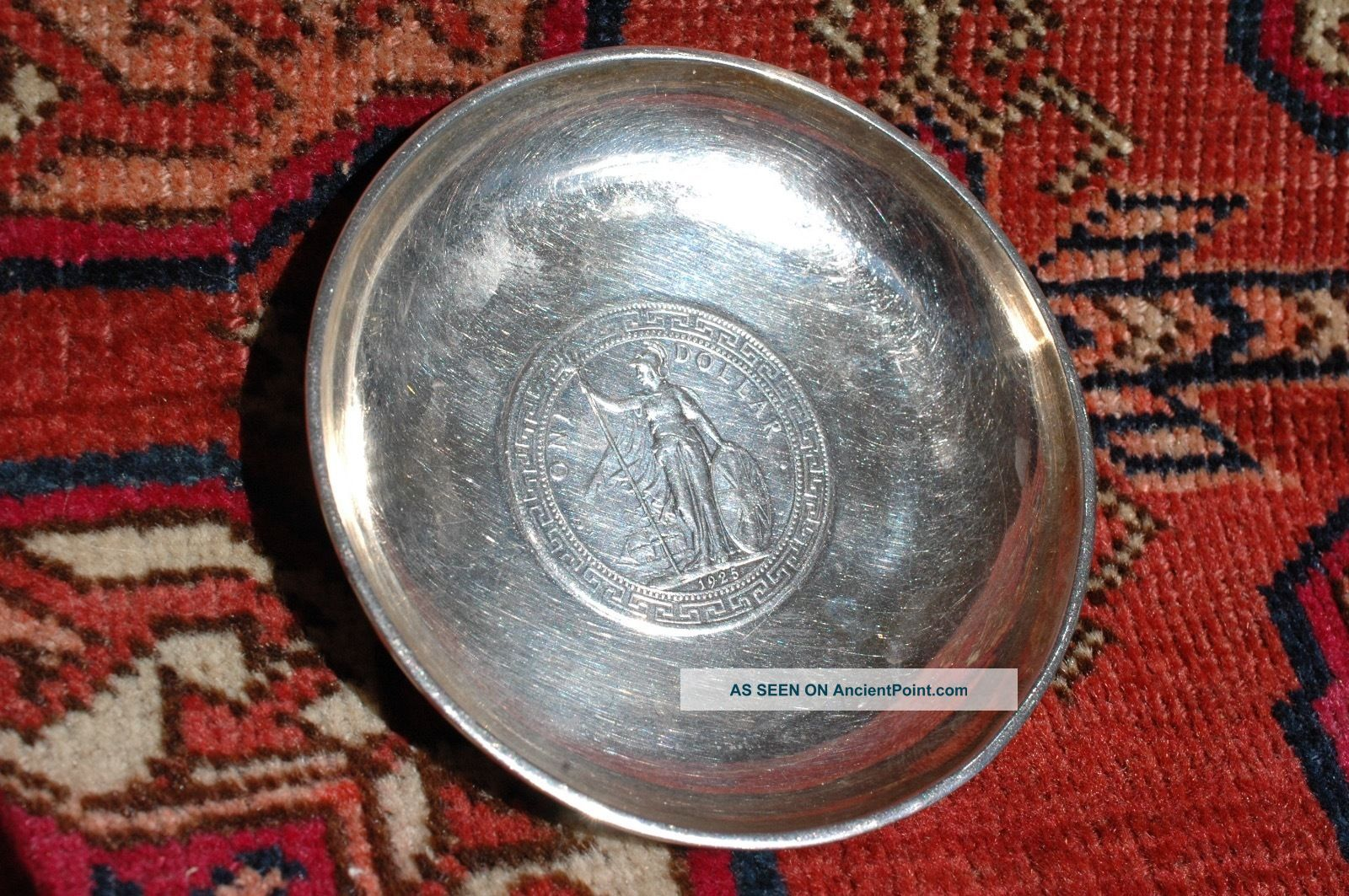1925 Hong Kong Silver Dollar Coin & Tackhing Sterling Silver Dish Tray Dishes & Coasters photo