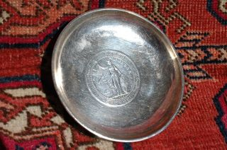 1925 Hong Kong Silver Dollar Coin & Tackhing Sterling Silver Dish Tray photo