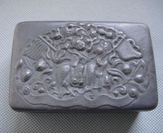 Old Chinese Copper Carved Kirin And Child Pattern Boxes photo