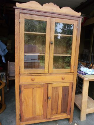 Oak Flat Wall Pie Safe Cupboard In photo