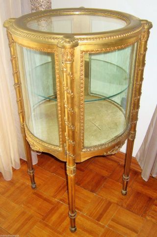 Antique French Louis Xvi Giltwood Round Vitrine Curio photo