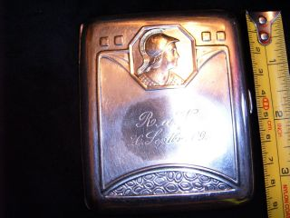 Antique Cigarette Case,  Lovely Motive.  106gr. photo