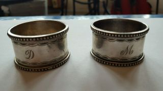 A Solid Silver Napkin Rings Engraved D & M London 1985 55.  6 Grams photo