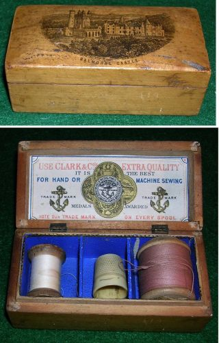 Antique Mauchline Ware Wooden Clarks Sewing Box Balmoral Castle Scotland photo