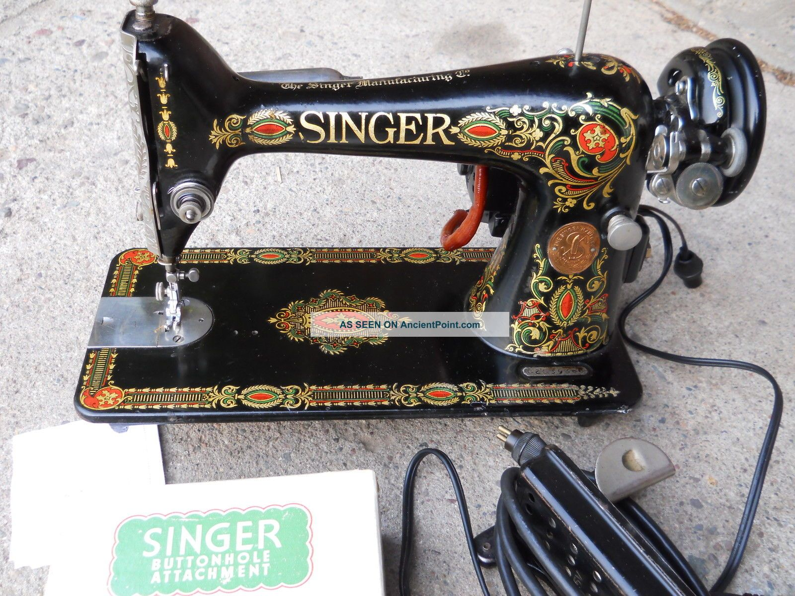 1918 Singer Red Eye Sewing Machine Serial G603966 Electric,  Serviced Buttonholer Sewing Machines photo
